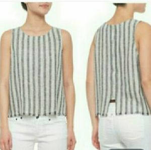Anthro Drew gray stripe button back raw hem tank
